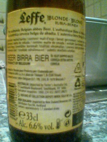 Leffe Blonde back label