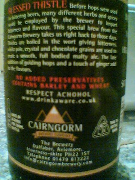 Cairngorm Blessed Thistle rear label