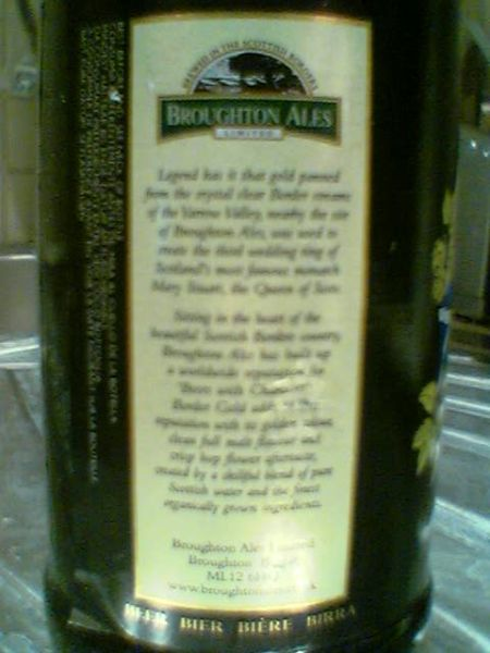 Broughton Border Gold story side of label