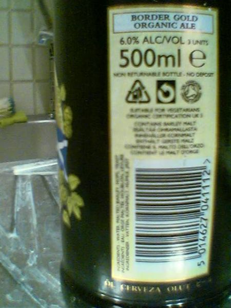 Broughton Border Gold barcode side of label