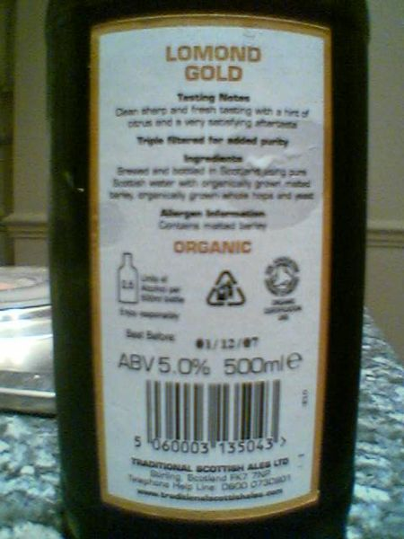 Traditional Scottish Ales' Lomond Gold Organic Blonde Ale back label