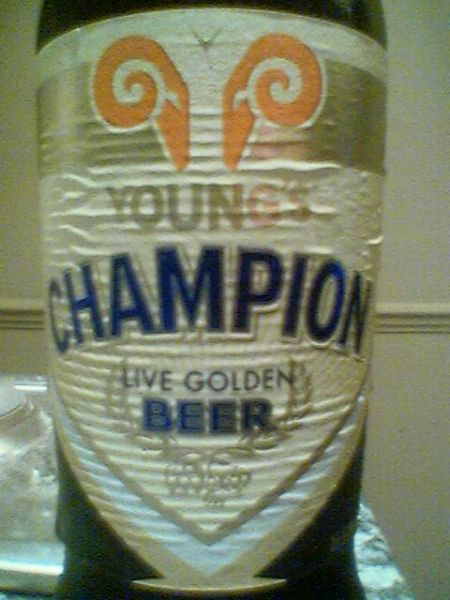 Young's Champion Live Golden Beer front label