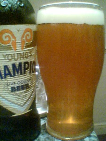 Young's Champion Live Golden Beer in a glass