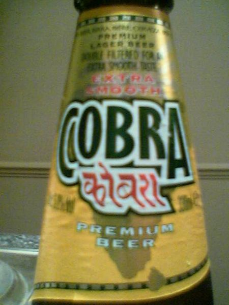 Cobra Extra Smooth Premium Lager Beer front neck label