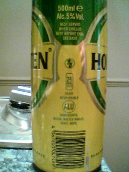 Holsten Pils barcode side of can