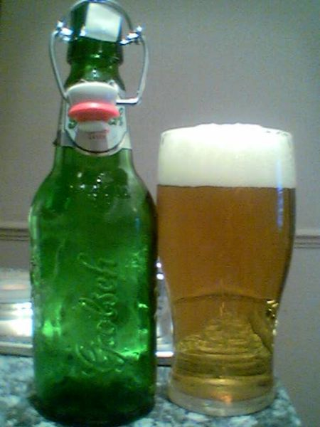 Grolsch swingtop bottle poured