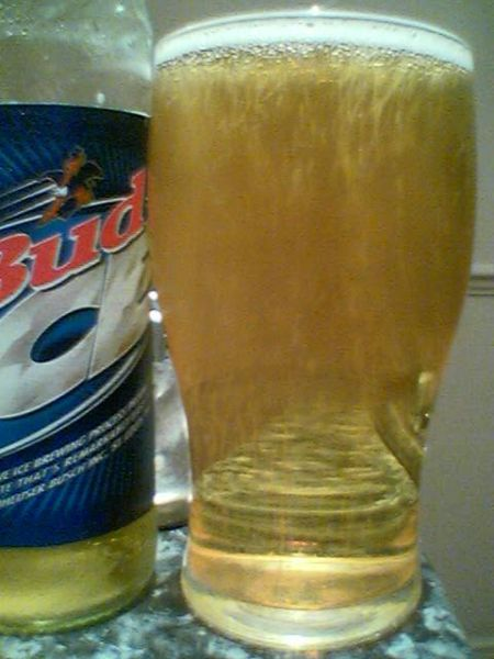 Bud Ice poured into a glass