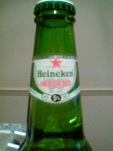 Heineken Imported Lager Beer neck label