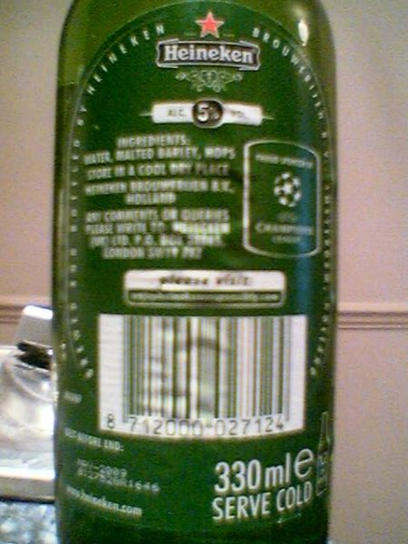 Heineken Imported Lager Beer back label