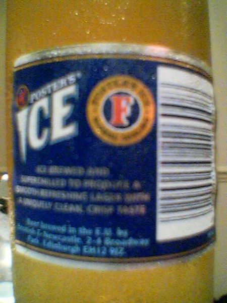 Foster's Ice back label