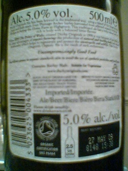 Duchy Originals Organic Ale back label