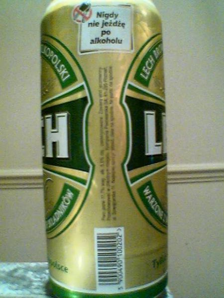 Lech Pils barcode side of can
