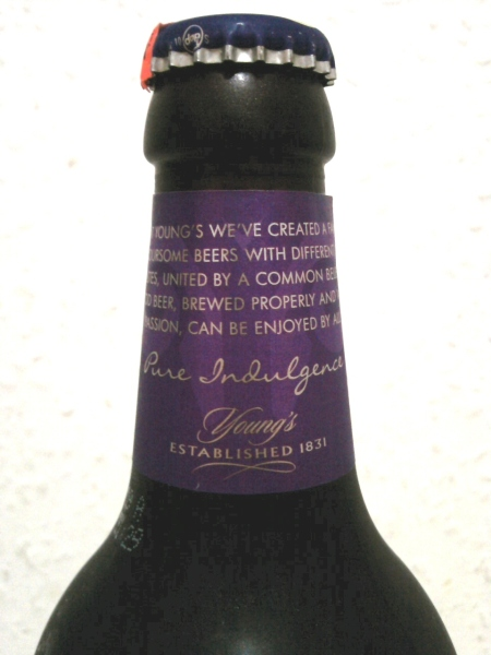 Young's Luxury Double Chocolate Stout front neck label