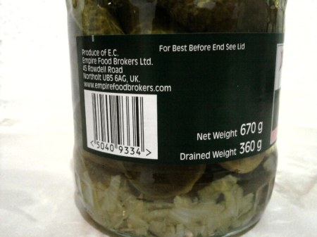Mrs Elswood Pickled Whole Sweet Cucumbers barcode side of label