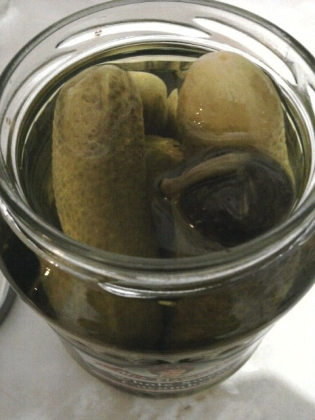 Mrs Elswood Pickled Whole Sweet Cucumbers jar open