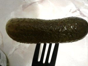 Mrs Elswood Pickled Whole Sweet Cucumbers on a fork