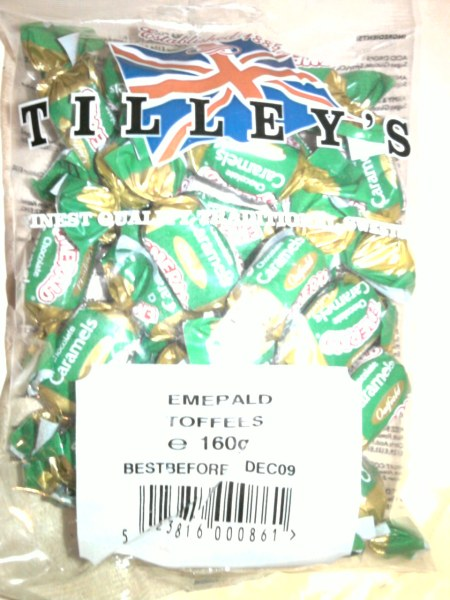 Tilley's Emerald Toffees / Oatfield Chocolate Caramels front of bag