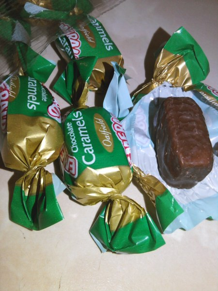 Tilley's Emerald Toffees / Oatfield Chocolate Caramels open, wrapper and unwrapped