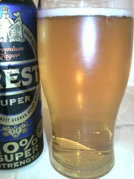 Crest Super poured into a glass