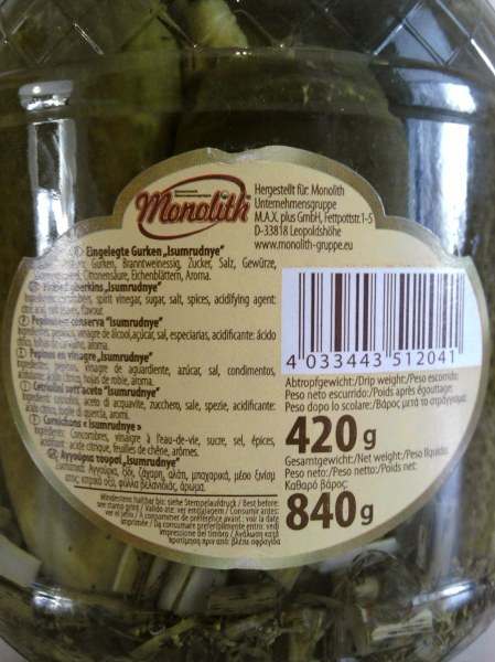 Monolith Isumrudnye Pickled Gherkins back label