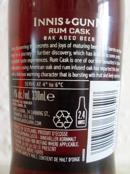 Innis & Gunn Rum Cask back label